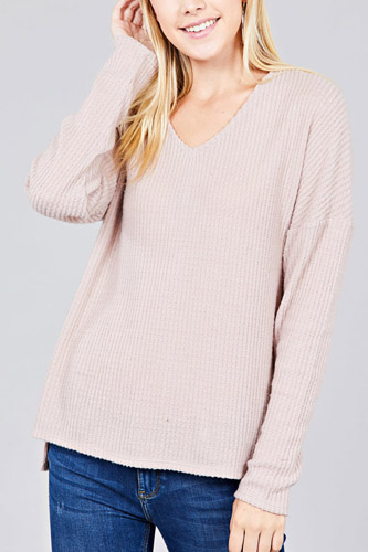 Ladies fashion long dolmen sleeve v-neck brushed waffle knit top-id.cc36599e
