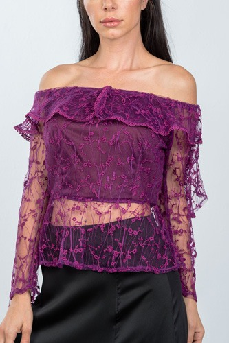 Ladies fashion sheer floral textured off the shoulder top-id.cc36601