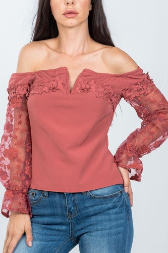 Ladies fashion v-wire off the shoulder floral applique top-id.cc36602a