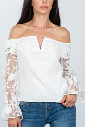 Ladies fashion v-wire off the shoulder floral applique top-id.cc36602b