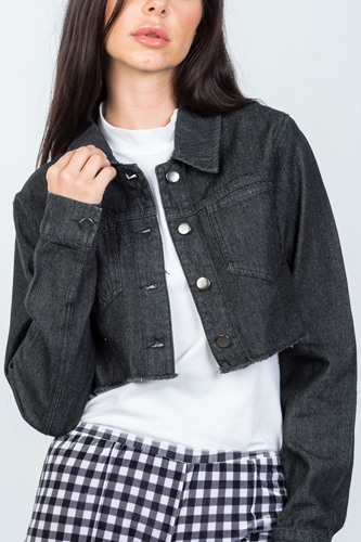 Ladies fashion black lace-up back denim crop jacket-id.cc36604