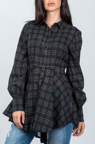Ladies fashion black graph check print hi-low plume boho tunic shirt-id.cc36606