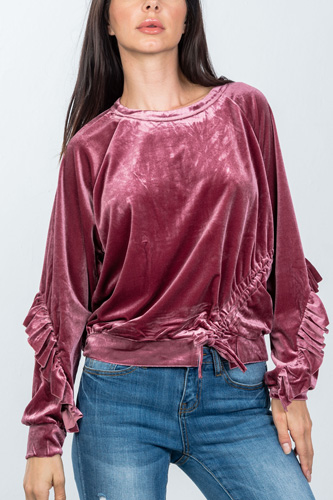 Ladies fashion ruched drawstring ruffle sleeves sweater-id.cc36607