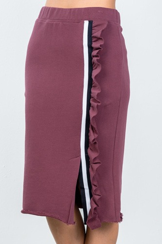 Ladies fashion contrast striped and ruffle midi sweat skirt-id.cc36608