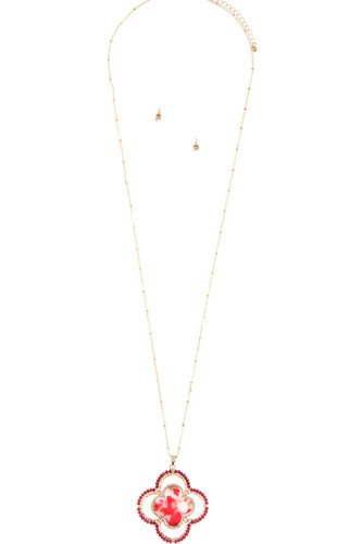 Faceted bead acetate clover pendant necklace set-id.cc36621