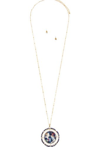 Faceted bead acetate circle pendant necklace set-id.cc36622