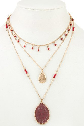 Multi row beaded filigree pendant necklace-id.cc36629