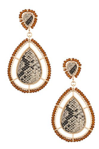 Bead framed teardrop reptile pattern earring-id.cc36639