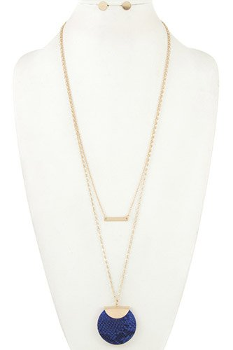 Reptile print and bar pendant long necklace set-id.cc36657