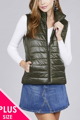 Ladies fashion plus size quilted padding vest-id.cc36660d