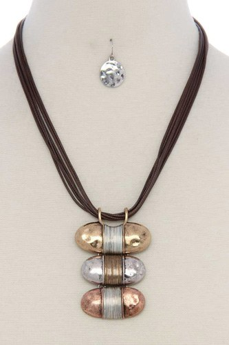 Hammered slanted oval shape wired wrapped necklace-id.cc36688