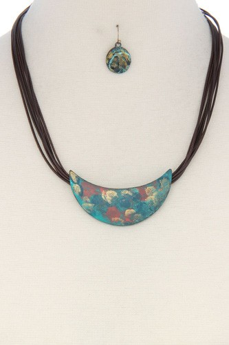 Patina curve bar pu leather necklace-id.cc36689