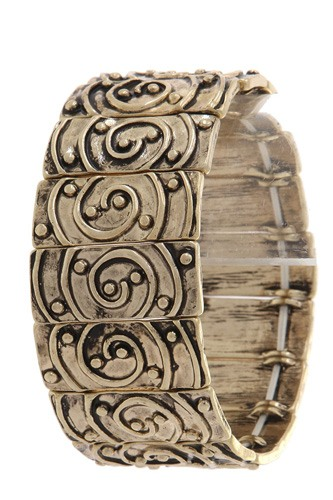 Rustic rectangular shape swirl stretch bracelet-id.cc36699