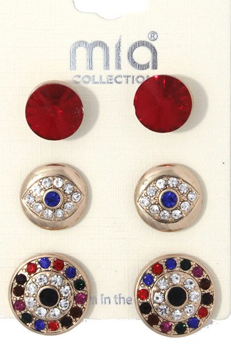 Rhinestone evil eye earring set-id.cc36706