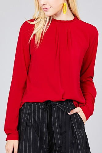 Ladies fashion 3/4 roll up sleeve crew neck w/ruffle woven top-id.cc36726e