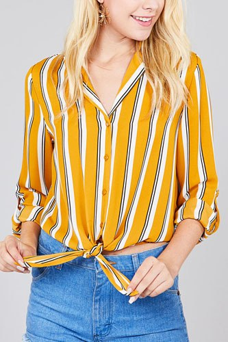 Ladies fashion 3/r roll up sleeve notched collar front tie multi striped woven top-id.cc36729