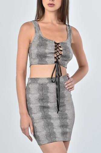Ladies fashion taupe snake print lace up crop top and mini skirt two piece set-id.cc36733