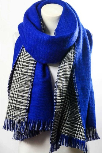 Reversible hounds tooth solid frayed border scarf-id.cc36743
