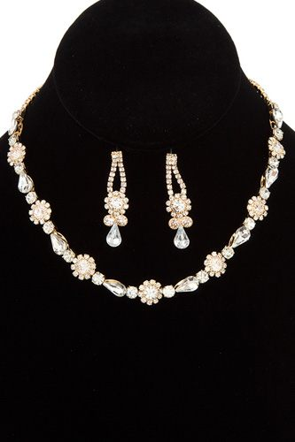 Crystal gem link choker necklace set-id.cc36752