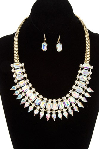 Faceted crystal gem link bib necklace set-id.cc36753