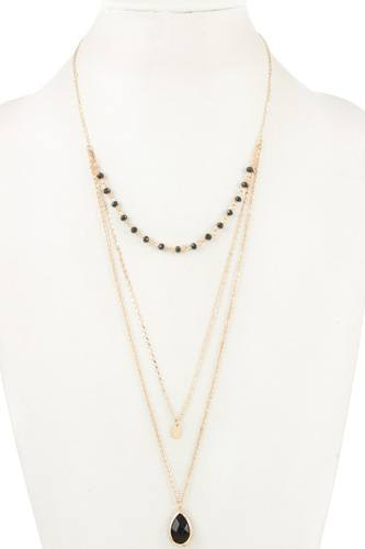 Triple row bead teardrop pendant necklace-id.cc36754