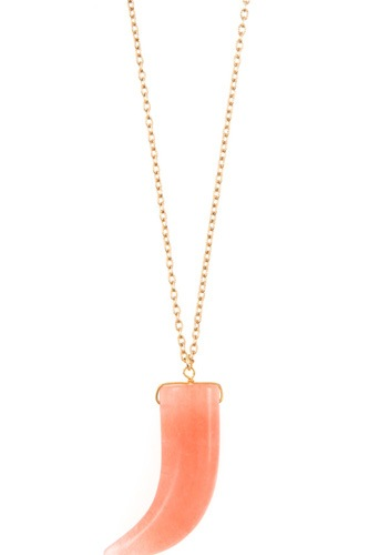 Elongated single horn pendant necklace-id.cc36757