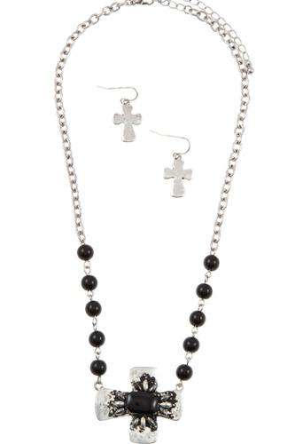 Beaded cross accent pendant necklace set-id.cc36758