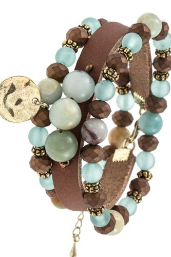 Three piece mix bead faux leather bracelet-id.cc36770