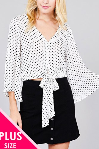 Ladies fashion plus size 3/4 bell sleeve v-neck w/button front tie detail dot printed crinkle gauze woven top-id.cc36801c