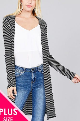 Ladies fashion plus size long sleeve open front side slit stripe tunic length rayon spandex rib cardigan-id.cc36803