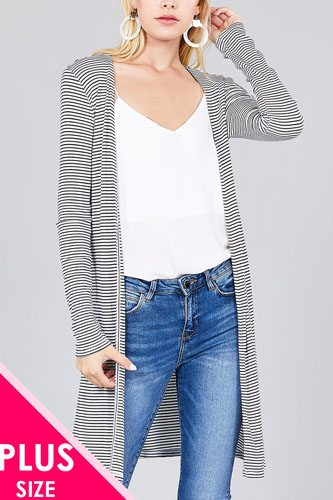 Ladies fashion plus size long sleeve open front side slit stripe tunic length rayon spandex rib cardigan-id.cc36803a