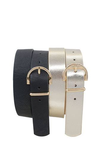 Skinny wide horseshoe buckle duo set belt-id.cc36807