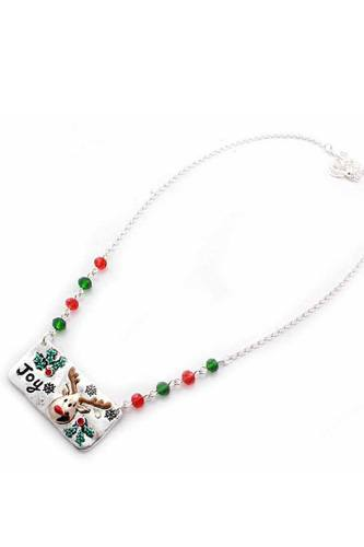 Reindeer metal bar beaded necklace-id.cc36816
