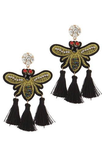 Rhinestone embroidered insect tassel post drop earring-id.cc36841