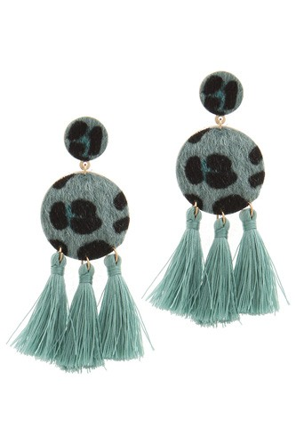 Double circle tassel post drop earring-id.cc36842