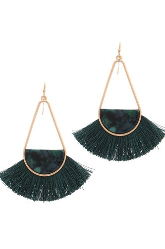 Long tear drop shape half acetate tassel drop earring-id.cc36844