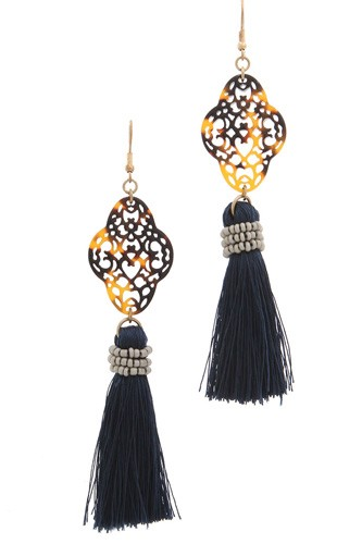 Acetate moroccan shape tassel drop earring-id.cc36854