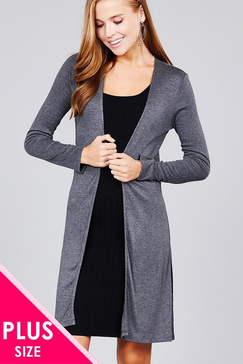 Ladies fashion plus size long sleeve open front side slit tunic length  rayon spandex rib cardigan-id.cc36865a