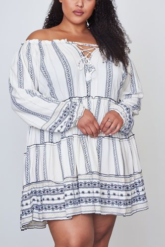 Ladies fashion plus size off the shoulder lace-up boho mini dress-id.cc36857