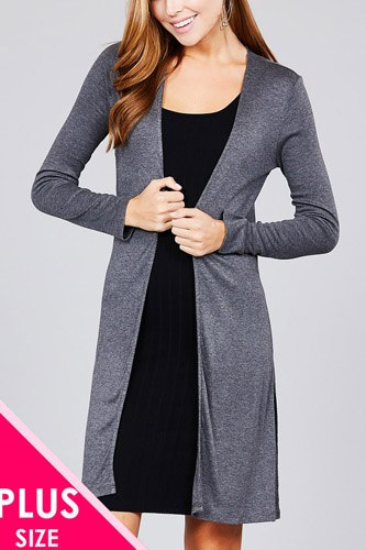 Ladies fashion plus size long sleeve open front side slit tunic length rayon spandex rib cardigan-id.cc36865a