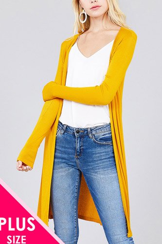 Ladies fashion plus size long sleeve open front side slit tunic length rayon spandex rib cardigan-id.cc36865c