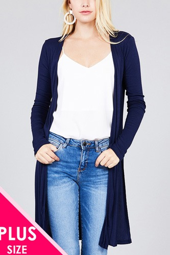 Ladies fashion plus size long sleeve open front side slit tunic length rayon spandex rib cardigan-id.cc36865d