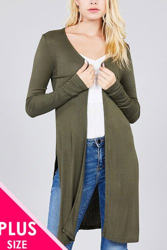 Ladies fashion plus size long sleeve open front side slit tunic length rayon spandex rib cardigan-id.cc36865e
