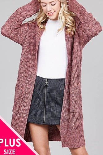 Ladies fashion plus size dolmen sleeve open front w/patch pocket marled sweater cardigan-id.cc36866