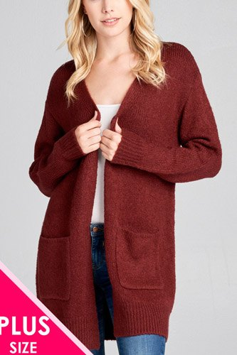 Ladies fashion plus size long sleeve open front w/pocket tunic sweater cardigan-id.cc36867