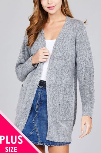 Ladies fashion plus size long sleeve open front w/pocket tunic sweater cardigan-id.cc36867a