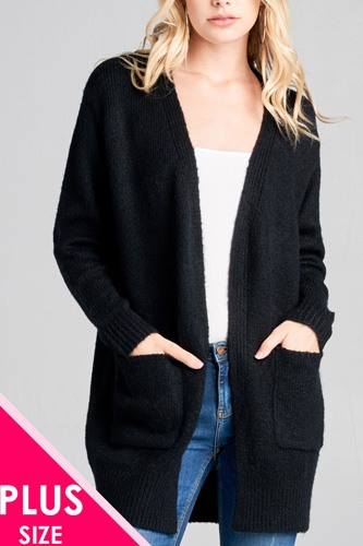 Ladies fashion plus size long sleeve open front w/pocket tunic sweater cardigan-id.cc36867b