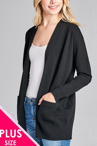 Ladies fashion plus size long dolmen sleeve open front w/pocket sweater cardigan-id.cc36868