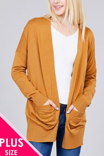 Ladies fashion plus size long dolmen sleeve open front w/pocket sweater cardigan-id.cc36868a