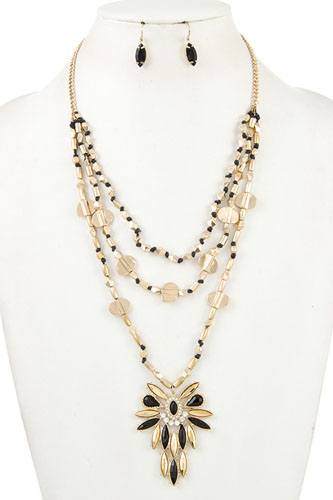 Triple layered beads pendant necklace set-id.cc36884